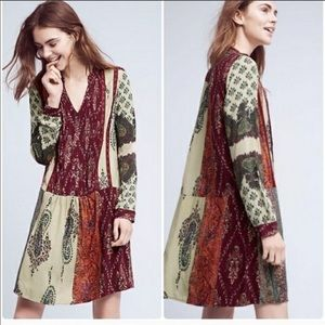 Anthropologie Tiny Gwen Patchwork Shirtdress